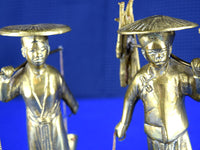 Vintage Pair of Brass Asian Farmer Figurines Carrying Water Buckets and Wood - ChaseyBlueVintage
