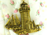 Vintage Lighthouse Brooch with Schooner by JJ - ChaseyBlueVintage