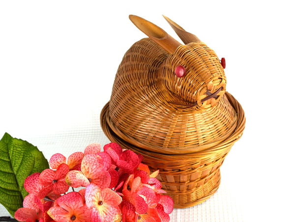 Vintage Easter Bunny Wicker Basket with Red Pearl Button Eyes - ChaseyBlueVintage