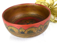 Vintage Wood Bowl Hand Turned Hand Painted Soviet Union - ChaseyBlueVintage