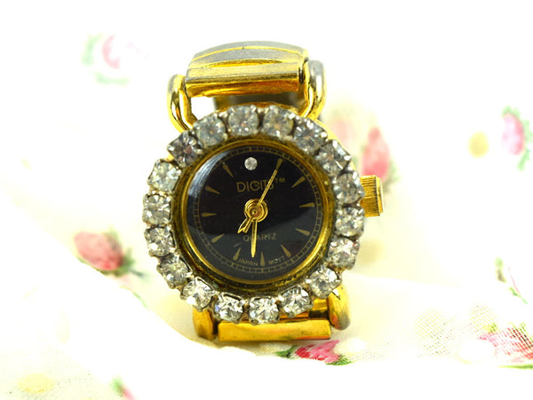 Vintage Digits Ring Watch Australian Crystals Finger Timepiece in Gold Case - ChaseyBlueVintage
