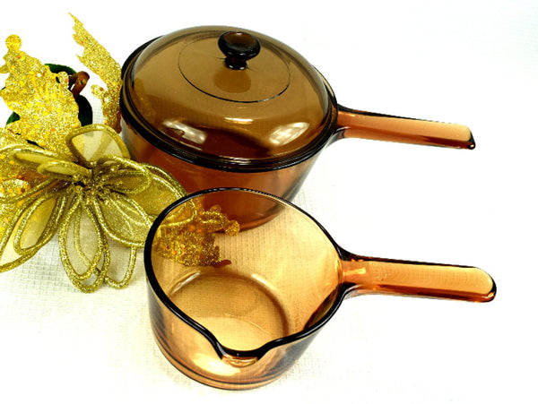 3 Piece Starter Set Amber Visions Cookware - Corning Sauce Pan, Cooking Pot - ChaseyBlueVintage
