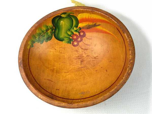 Mid Century Footed Wood Bowl Large Hand Made Rustic Fresh Vegetable Storage - ChaseyBlueVintage
