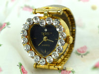 Vintage Digits Ring Watch Heart Shaped Face Australian Crystals Finger Timepiece in Gold Case - ChaseyBlueVintage