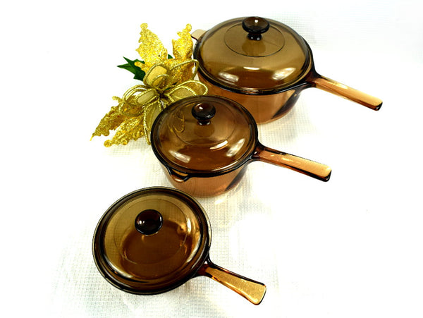 6 Piece Set Amber Visions Cookware - Large and Small Pot, Sauce Pan - ChaseyBlueVintage