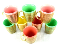 Retro Raffia Ware Insulated Coffee Mugs and Glassware Set of 8 - ChaseyBlueVintage