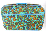 Vintage Teal Tapestry Suitcase Weekender Mod 1960s Over Night Bag - ChaseyBlueVintage