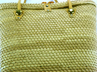 Vintage Natural Fiber Beach Tote with Brass Accents - ChaseyBlueVintage