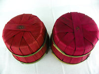 2 Red Split Wood Apple Baskets with Green Bands and Metal Handles - ChaseyBlueVintage
