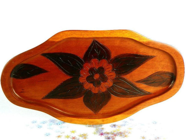 Vintage Wood Serving Tray Hand Carved - ChaseyBlueVintage
