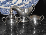 Vintage Silver Plated Cream and Sugar Bowl Plus Silver on Copper Gravy Boat - ChaseyBlueVintage