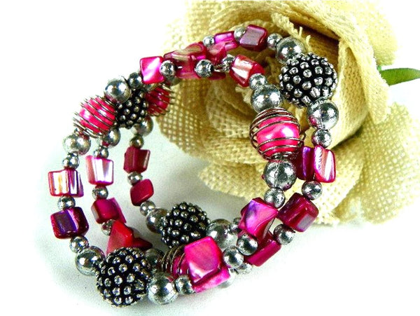 Vintage Beaded Pink and Silver Wrap Around Bracelet - ChaseyBlueVintage