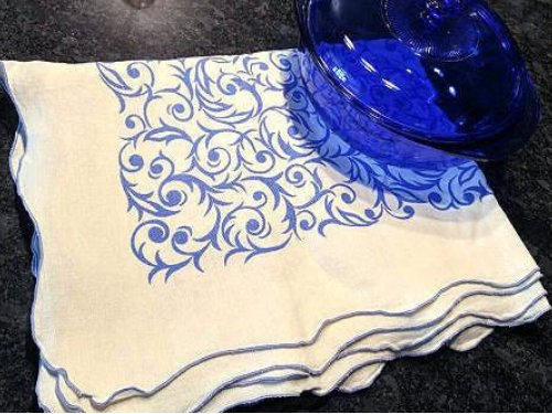 Blue and White Vintage Linen Tablecloth With Scalloped Edges - ChaseyBlueVintage