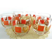 Vintage 60s On the Rocks Barware Set of 6 by Georges Briard Orange and Gold - ChaseyBlueVintage
