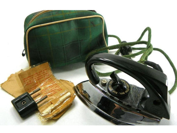 Electric Travel Flat Iron 1950s made by AZN Western Germany Automatic Heat Regulator - ChaseyBlueVintage