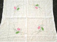 Vintage Dainty Applique Table Cover with Hand Embroidery Pink and Green Flowers - ChaseyBlueVintage