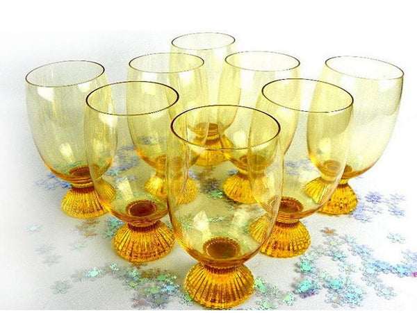 8 Vintage Amber Pedestal Drinking Glasses Fluted Weighted Base - ChaseyBlueVintage