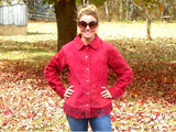 Vintage Ladies Red Leather Jacket Western Style with Fringe Bottom Size Large - ChaseyBlueVintage