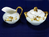 Gold Design Creamer and Sugar Set by J P L France Coffee Serving Set - ChaseyBlueVintage