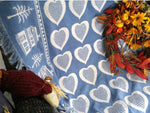 Vintage Reversible Woven Throw Blue and White Home is Where The Heart Is - ChaseyBlueVintage