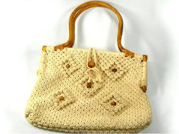Retro Macrame Purse with Large Bamboo Handles and Wood Beads - ChaseyBlueVintage