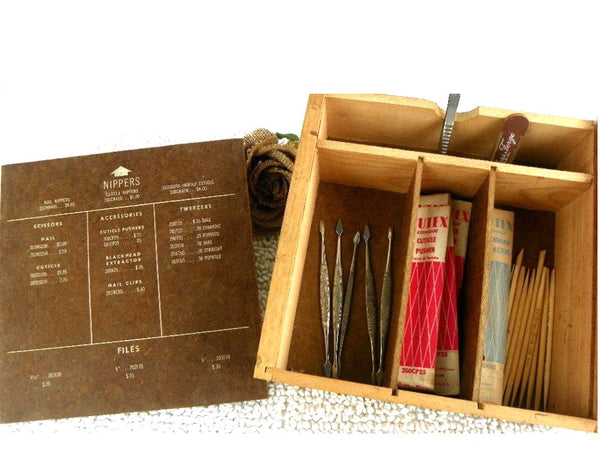 Vintage Beauty Shop Manicure Accessories Sales Wood Box - ChaseyBlueVintage