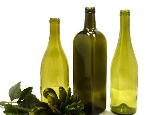 3 Large Mismatched Olive Green Bottles Bud Vases for Sunny Window - ChaseyBlueVintage