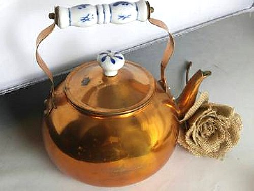 Vintage Copper Teapot with Delft Blue Handle and Lid Knob - ChaseyBlueVintage