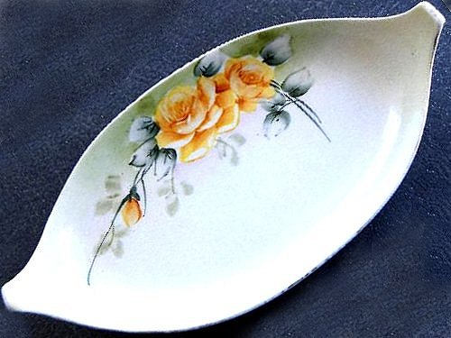 Vintage Nippon Yellow Roses Oval Serving Dish Hand Painted - ChaseyBlueVintage