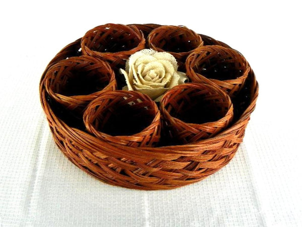 Mid Century Wicker Basket Drink Caddy with 6 Cozies - ChaseyBlueVintage