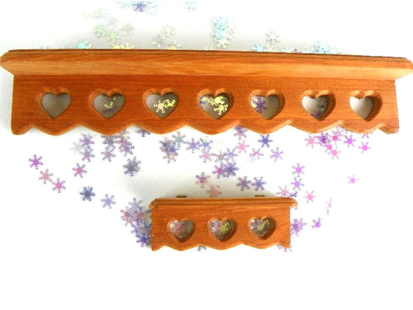 Retro Solid Wood Shelf Mitered Heart Design Matching Small Accent Shelf - ChaseyBlueVintage