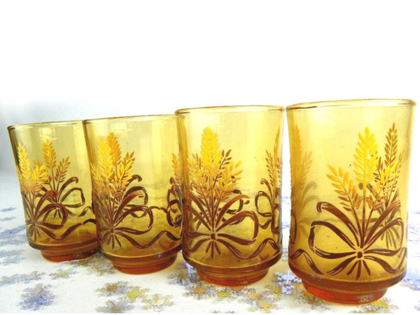 4 Amber Juice Glasses Bouquet of Wheat Tied with Ribbon Vintage Libbey - ChaseyBlueVintage