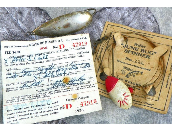 Vintage 1950s Fishing Memorabilia License and Spinner Jigs - ChaseyBlueVintage