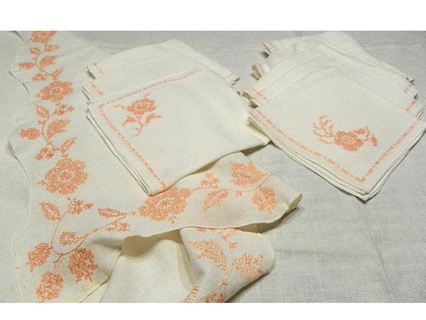 Vintage White Cotton Tablecloth Matching Napkins Peach Embroidery Floral Border - ChaseyBlueVintage