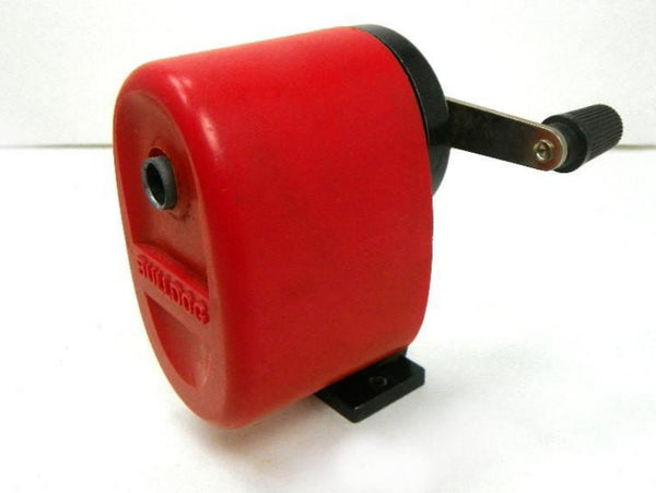 Vintage Bulldog Metal Pencil Sharpener Red Manual Hand Crank - ChaseyBlueVintage
