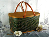 Vintage Burlington Wicker Picnic Basket Large with Sturdy Metal Handles - ChaseyBlueVintage