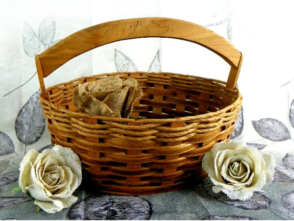 Vintage Split Wood Weave Basket with Solid Wood Bottom and Handle - ChaseyBlueVintage