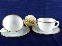 2 Vintage Cup and Saucer Sets Morning Coffee by Fire King White with Gold Rim - ChaseyBlueVintage
