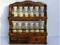 Wood Early American Spice Rack with 12 Glass Jars - ChaseyBlueVintage