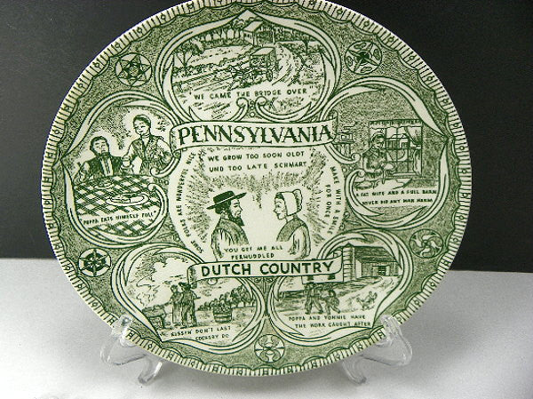 Vintage Transferware Plates Pennsylvania Dutch Country Amish - ChaseyBlueVintage