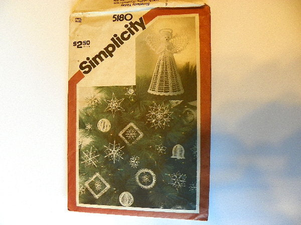 Christmas Crochet Pattern Ornaments and Tree Top Angel Vintage Uncut - ChaseyBlueVintage