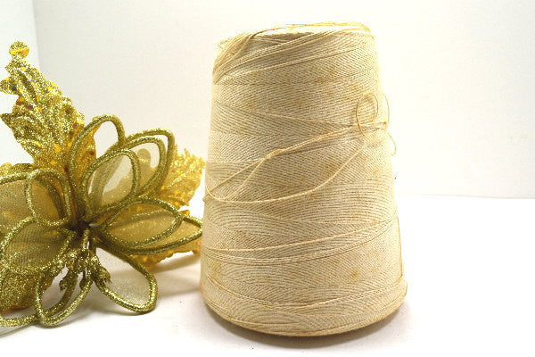 Old 4 Ply White Cotton Cord on Large Spool - ChaseyBlueVintage
