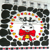 2 Printed Fabric Panels Bessie The Holstein Cow for Pillow Tops - ChaseyBlueVintage