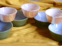 Mismatched Peach Lusterware Custard Cups and Olive Green Bowls by Fire King - ChaseyBlueVintage