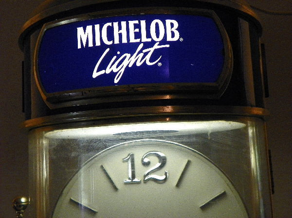 Michelob Light Hanging Light With Rotating Clock And Anheuser Busch Emblem