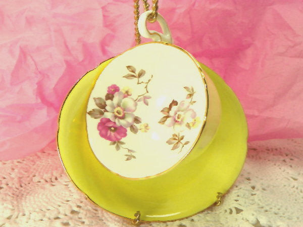 Vintage Tea Cup and Saucer by Royal Grafton Sunny Yellow Bone China from England - ChaseyBlueVintage