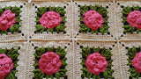 Vintage Crocheted Bed Cover Raised Pink Flower 74 X 82 Bedspread - ChaseyBlueVintage
