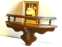 Vintage Early American Curio Shelf Half Moon Maple Wood - ChaseyBlueVintage
