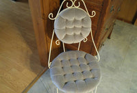 Vintage Boudoir Vanity Makeup Chair Metal White Frame Tufted Button Upholstery - ChaseyBlueVintage