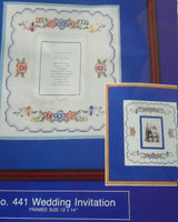 Wedding Invitation Cross Stitch Kit Almost Finished with Instructions and Floss - ChaseyBlueVintage